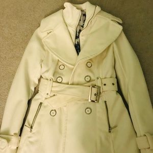 white guess trench coat